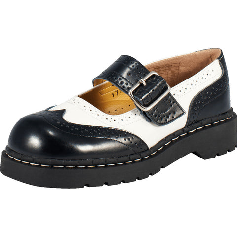 Women's T.U.K. Brogue Mary Janes Black/White Rockabilly
