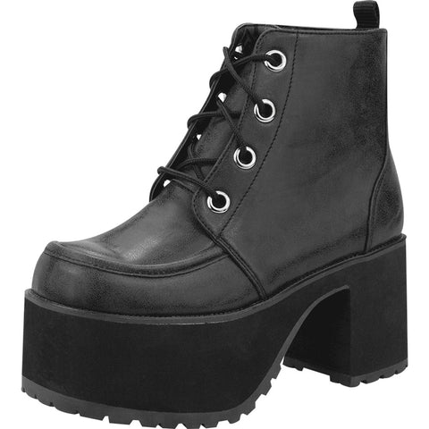 Women's T.U.K. Distressed Ankle Nosebleed Boot Black Punk Goth Alternative
