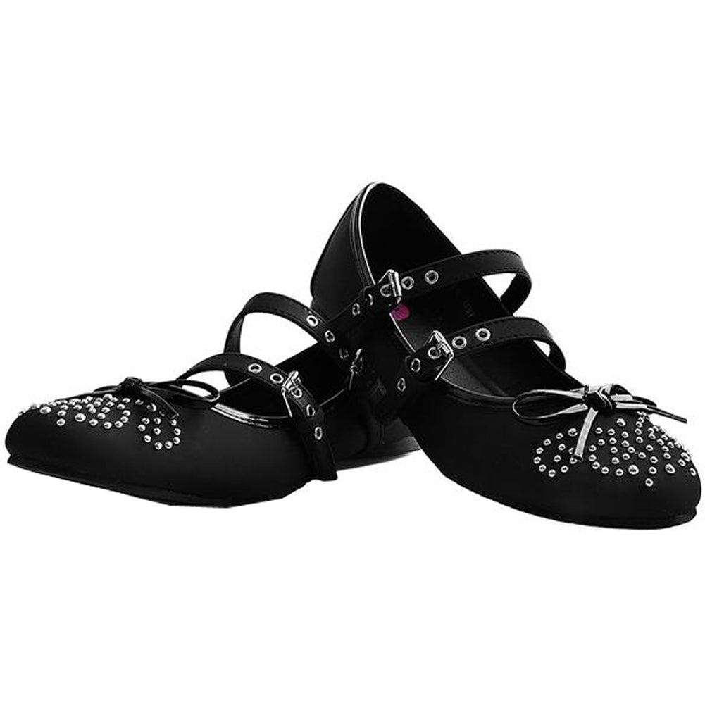 Women's T.U.K. Double Strap Studded Ballet Flat Black Bow Alternative