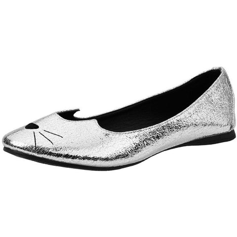 Women's T.U.K. Sophistakitty Flat Silver Crackle Cat Face Nose Wiskers