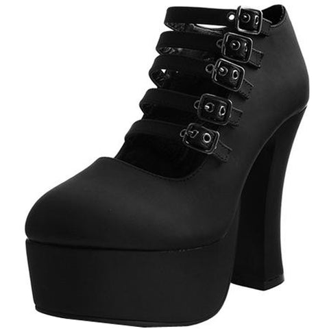 Women's T.U.K. Strappy Spice Platform Heel Black Goth Alternative