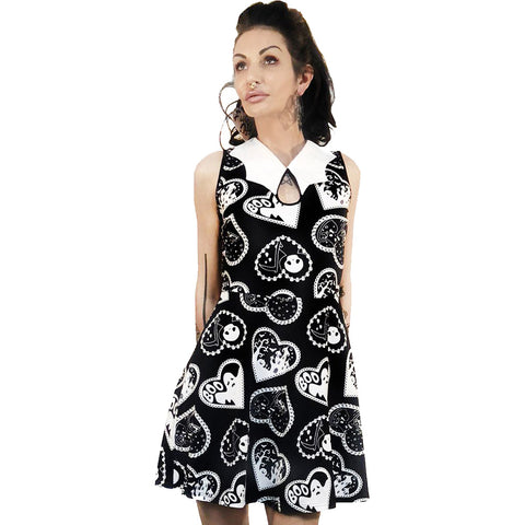 Too Fast Apparel Haunted Hearts Doily Halloween Bat Collar Dress Goth Hearts