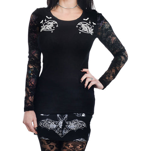 Too Fast Apparel Night Creature Moon & Bats Kelly Lace Back Long Sleeve Top