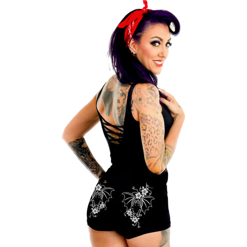 Women's Too Fast Apparel Victorian Bats Gothic Damask Hades Hot Shorts Goth