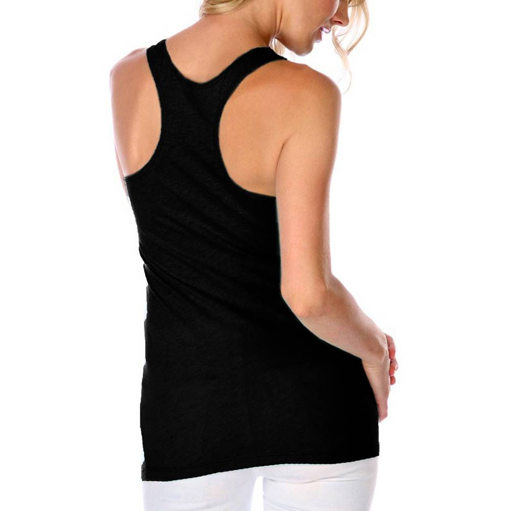 Women's Too Fast Apparel Yin Yang Racer Back Tank Top Black Dripping Goth