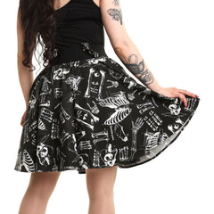 Women's Vixxsin Anatomy Skirt Black Bones Skeleton Punk Goth Nugoth