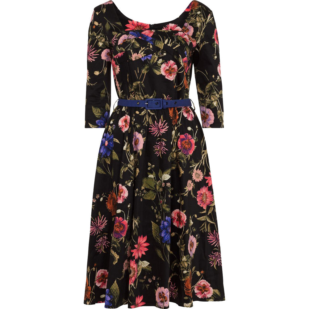 Voodoo Vixen ALLIE Floral Flare Dress Black Retro Vintage Rockabilly Pin Up