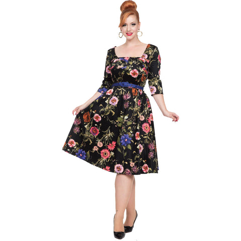 Voodoo Vixen ALLIE Floral Flare Plus Size Dress Black Retro Vintage Rockabilly