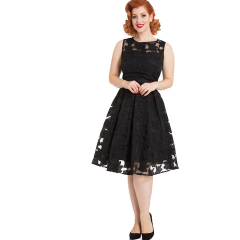 Voodoo Vixen Audrey Floral Dress Black Retro Rockabilly Vintage