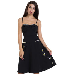 Voodoo Vixen BEE Embroidered Flared Dress Black Retro Vintage Rockabilly Pin Up