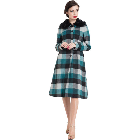 Women's Voodoo Vixen Beatrice Woolly Check Coat Blue Retro Rockabilly Vintage