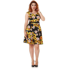 Women's Voodoo Vixen Bianca Sunflower Rose Flare Dress Black Retro Vintage