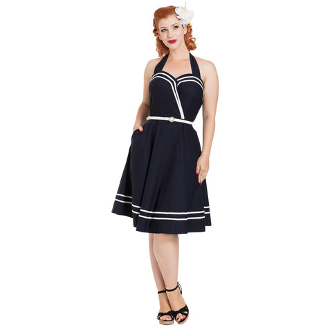 Voodoo Vixen CHARLOTTE Nautical Halter Dress Navy Retro Vintage Rockabilly