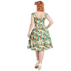 Voodoo Vixen Dana Tropical Cherry Print Dress Green Retro Vintage