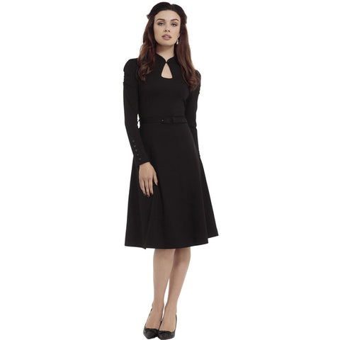 Voodoo Vixen Dita Keyhole Long Sleeve Flare Dress Black Rockabilly Vintage Retro