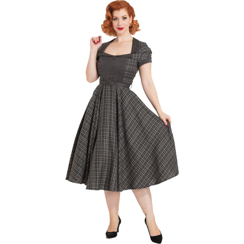 Voodoo Vixen Ella Tartan Flare Dress Grey Plaid Retro Rockabilly Vintage