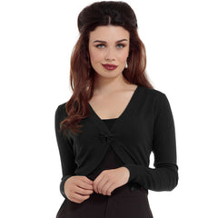 Women's Voodoo Vixen Elle Cropped Bolero Cardigan Black Rockabilly Vintage Retro