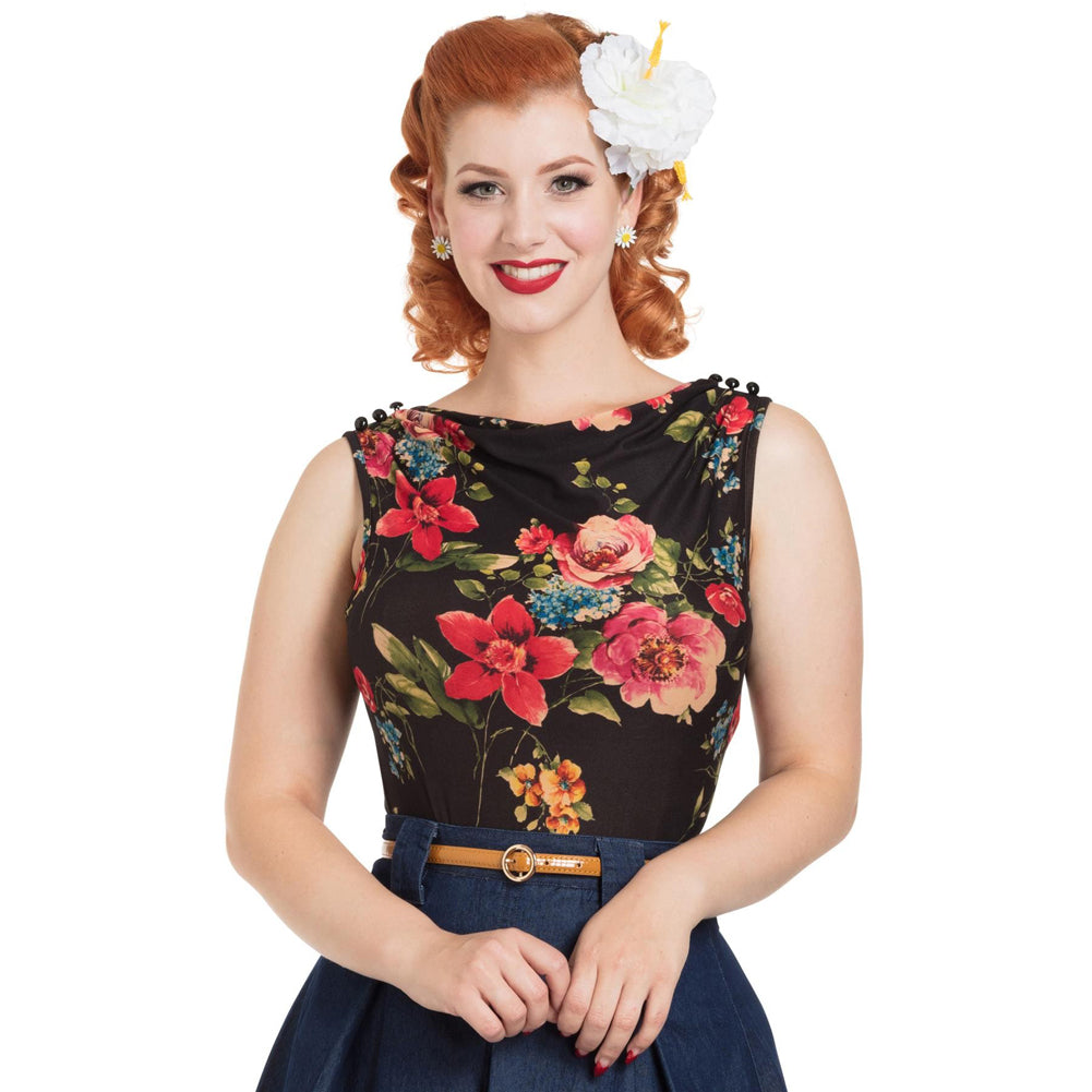 Women's Voodoo Vixen FLORA Boat Neck Floral Top Black Retro Vintage Rockabilly
