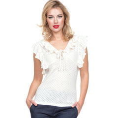 Women's Voodoo Vixen FRANCINE Ruffle Knit Top Cream Retro Vintage Rockabilly