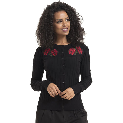 Women's Voodoo Vixen Faith Poppy Cardigan Black Retro Vintage Rockabilly