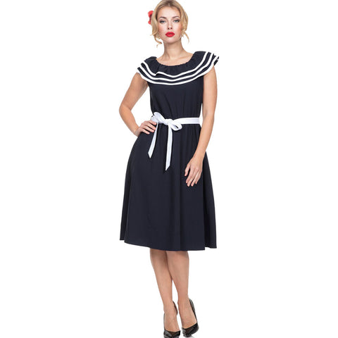 Voodoo Vixen HOPE Collared Flare Dress Black Retro Vintage Rockabilly Pin Up