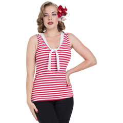 Women's Voodoo Vixen Haili Nautical Stripe Top Red Retro Vintage Rockabilly