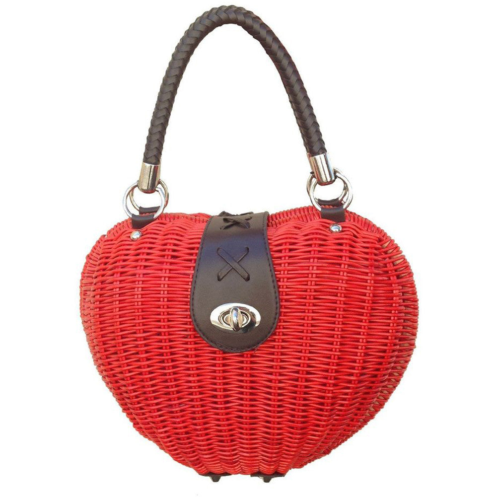 Women's Voodoo Vixen Heart Wicker Handbag Red Retro Vintage Rockabilly