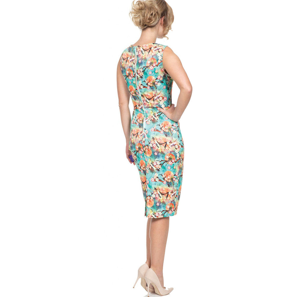 Voodoo Vixen JESSA Tropical Bird Pencil Dress Green Retro Vintage Rockabilly