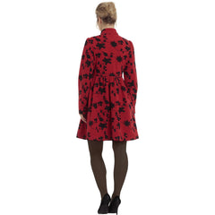Women's Voodoo Vixen Joan Floral Embroidery Empire Waist Coat Red Vintage Retro