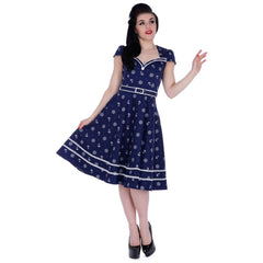 Womens Voodoo Vixen Joni Nautical Print Flare Dress Navy Vintage Rockabilly
