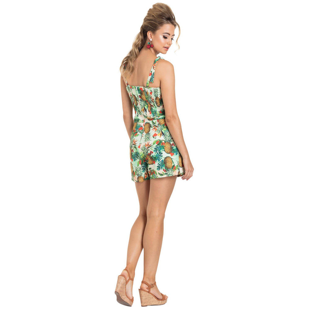 Women's Voodoo Vixen KIRSTY Tropical Playsuit Green Retro Vintage Rockabilly