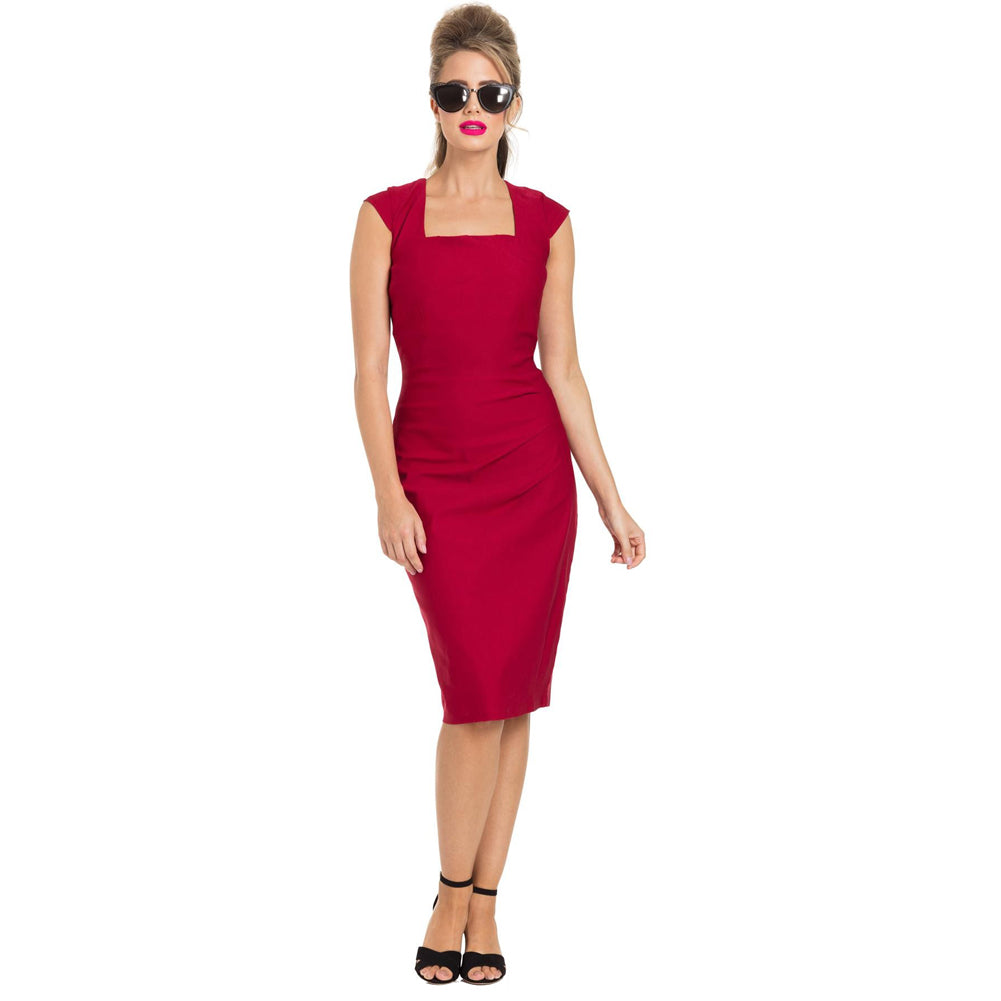 Voodoo Vixen LILLIAN Pencil Dress Red Retro Vintage Rockabilly Pin Up