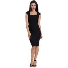 Voodoo Vixen LILLIAN Red Pencil Dress Black Retro Vintage Rockabilly Pin Up