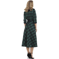 Voodoo Vixen Lola Plaid Flare Dress Removable Fur Collar Green Vintage Retro