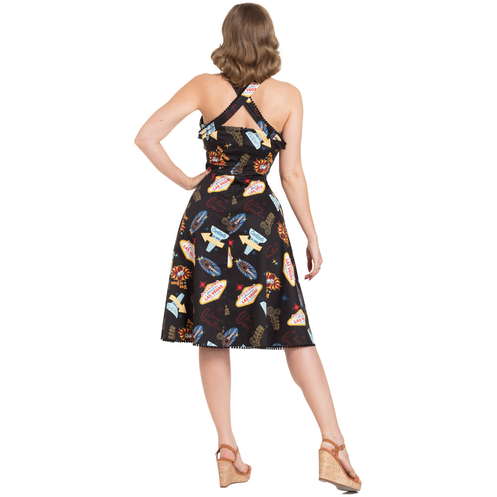 Voodoo Vixen Lucy Vegas Print Flared Dress Black Retro Vintage Rockabilly
