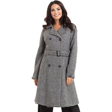 Women's Voodoo Vixen Margaret Houndstooth Bow Detail Coat Grey Retro Vintage
