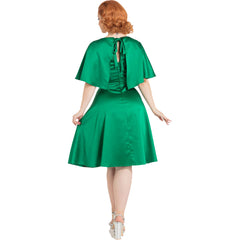Voodoo Vixen Mariah Cape Dress Green Retro Vintage Rockabilly