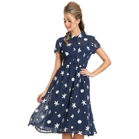 Voodoo Vixen Mary Under The Sea Printed Tea Dress Navy Retro Vintage