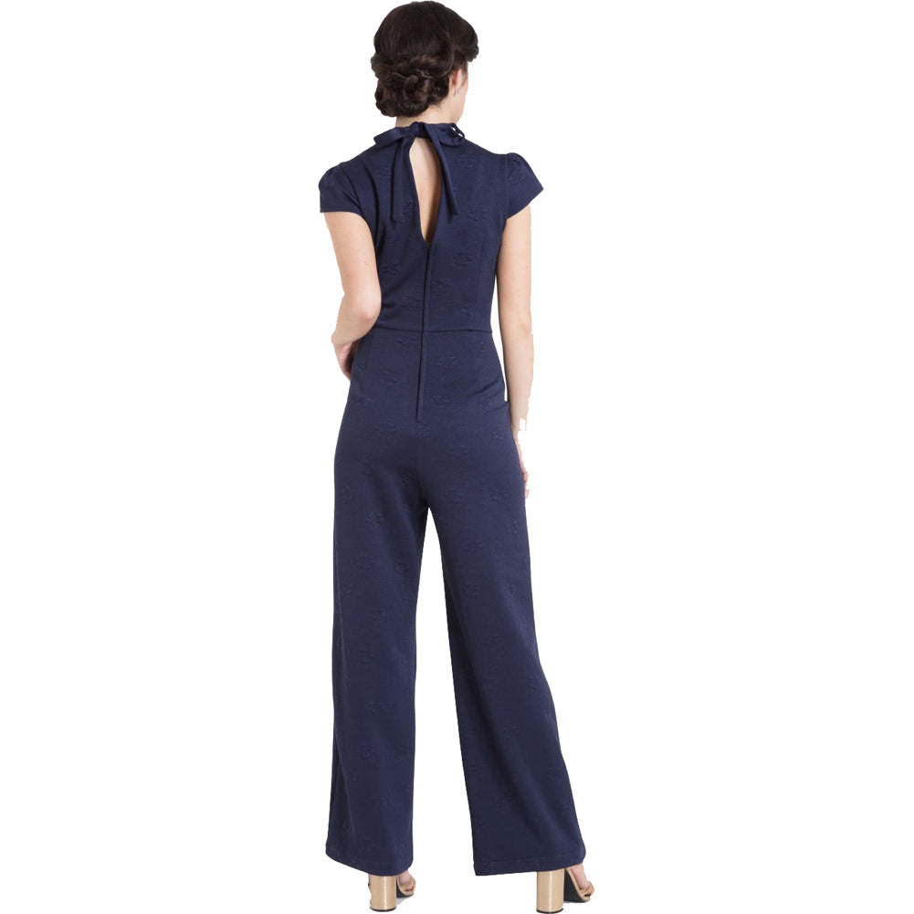 Women's Voodoo Vixen Maude High Neck Jumpsuit Blue Retro Rockabilly Vintage