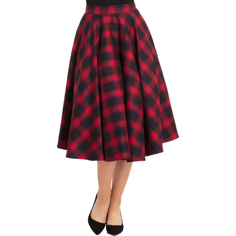Voodoo Vixen May Plaid Full Circle Skirt Red Retro Rockabilly Vintage