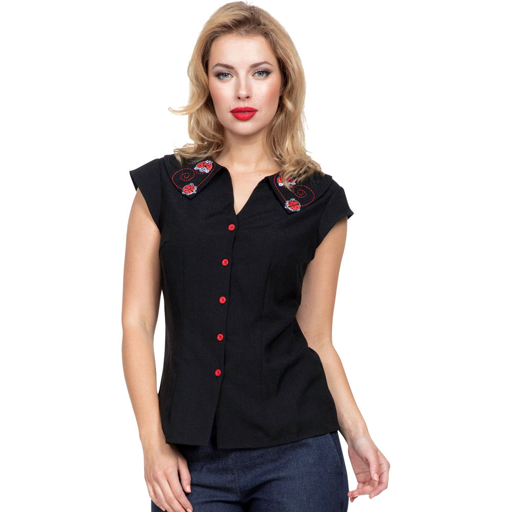 Women's Voodoo Vixen NENA Lady Bug Top Black Retro Vintage Rockabilly Pin Up