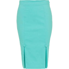 Voodoo Vixen NICOLE Pencil Skirt W/ Kick Pleates Green Retro Vintage Rockabilly