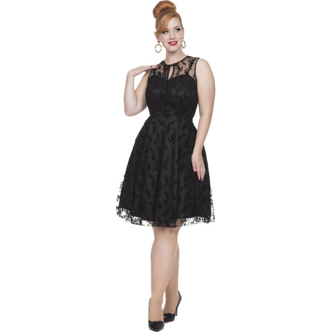 Voodoo Vixen Penny Taffeta Flare Dress Black Floral Retro Rockabilly Vintage