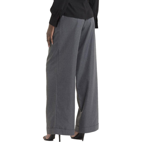 Women's Voodoo Vixen Pippa Pin Stripe Trousers Grey Wide Leg Retro Vintage