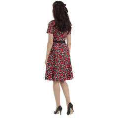 Voodoo Vixen Poppy Floral Holly Print Flare Dress Red Rockabilly Vintage Retro