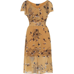 Voodoo Vixen Posy Butterfly Dress Yellow Retro Rockabilly Vintage