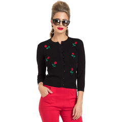 Women's Voodoo Vixen Rose Applique Cardigan Black Retro Vintage Rockabilly