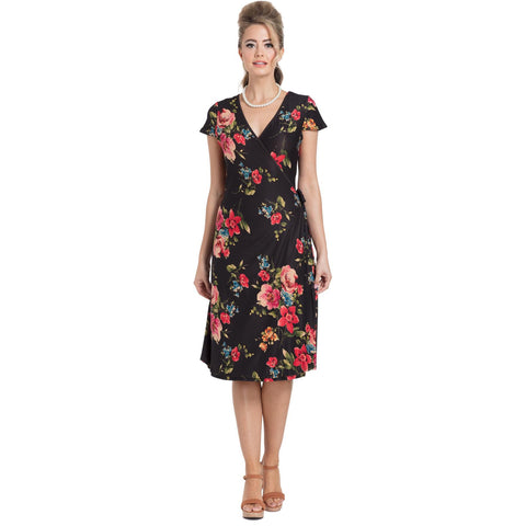 Voodoo Vixen SOPHIA Floral Wrap Dress Black Retro Vintage Rockabilly
