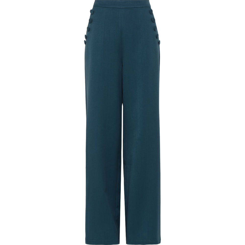 Women's Voodoo Vixen Sara 40's Style Trousers Blue Retro Rockabilly Vintage