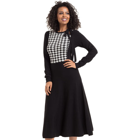 Voodoo Vixen Sophia Knitted Houndstooth Dress Black/White Retro Vintage Bow